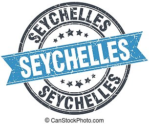 Seychelles blue round grunge vintage ribbon stamp