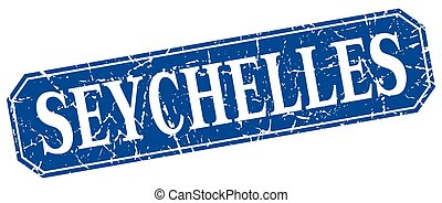 Seychelles blue square grunge retro style sign