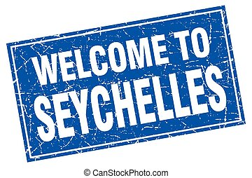 Seychelles blue square grunge welcome to stamp