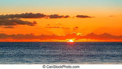 seychelles, encima, océano, indio, ocaso, mar