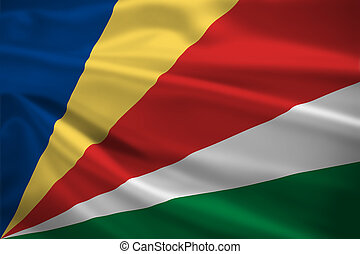 Seychelles flag blowing in the wind