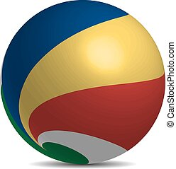 Seychelles flag on a 3d ball with shadow