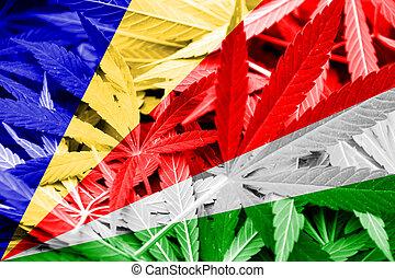Seychelles Flag on cannabis background. Drug policy. ...