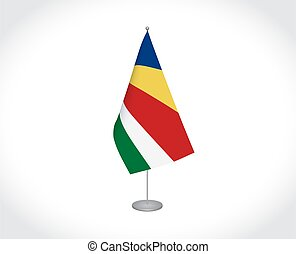 Seychelles flag on white background - National fabric vector...