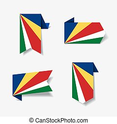 Seychelles flag stickers and labels. Vector illustration. -...