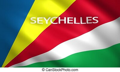 Seychelles flag with the name of the country