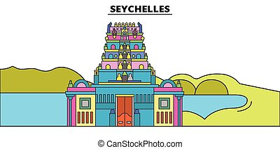 Seychelles flat travel skyline set. Seychelles black city vector illustration, symbol, travel sights, landmarks.