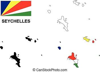 Seychelles map vector, Seychelles flag vector, isolated Seychelles