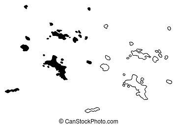 Seychelles islands map vector illustration, scribble sketch Republic of Seychelles