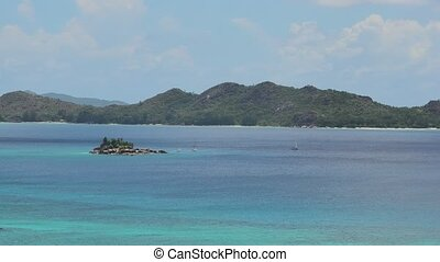seychelles, panorama, cote, or, baie