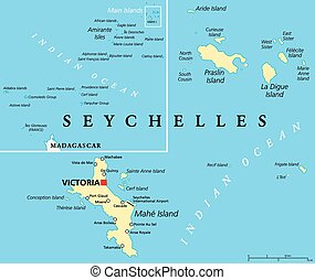 Seychelles Political Map with capital Victoria, important...