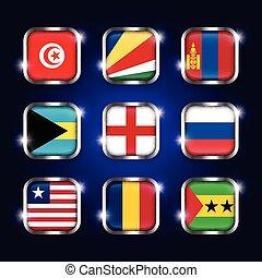 seychelles, sao, tchad, tunisie, ensemble, angleterre, frontière, bahamas, scintillement, ), (, mongolie, boutons, verre, mondiale, acier, libéria, quadrangulaire, tome, principe, drapeaux, russie