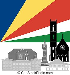 Seychelles - State flag and architecture of the country....