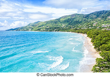 seychelles, urlop, truteń, vallon, prospekt, ocean, wyspa, ...
