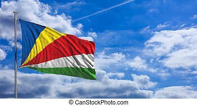 Seychelles waving flag on blue sky. 3d illustration