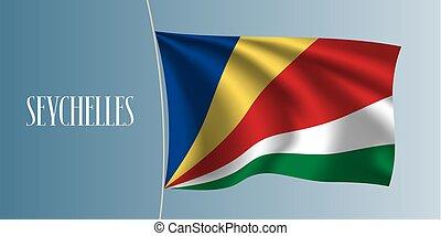 Seychelles waving flag vector illustration. Iconic design...