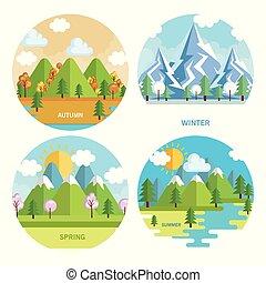 sezónní, dát, počasí, krajina