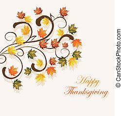 sezónní, list, díkůvzdání, podzimní, design, grafické...