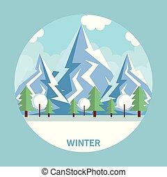 sezónní, větrat krajinomalba, ikona