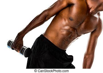 sezione, adattare, dumbbell, mezzo, shirtless, sollevamento, uomo, giovane