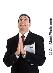 sezione affari, su, dall'aspetto, tenendo giornale, uomo affari, pregare