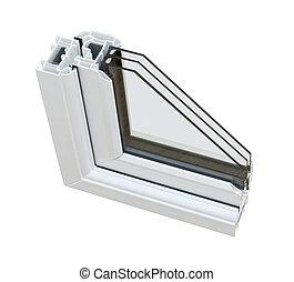 sezione, fornendo vetri, upvc, triplo, croce