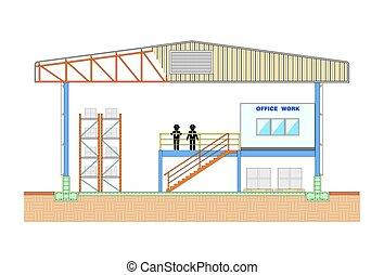 sezione, magazzino, illustrazione, vettore, disegno, magazzino, costruzione, struttura