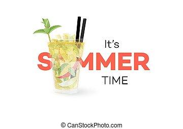 sezonowy, lato, banner., odizolowany, mangowiec, element, tło., mojito, wektor, coctail, konceptualny, projektować, biały