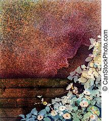 sezonowy, płot, ściana, wiosna, abstrakcyjny, żółty, bluszcz, kwiat, liść, struktura, tło., drewno, czerwony grunge, natura, barwiony, ręka, akwarela, tło, biały, kwiaty, painting.