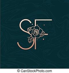 sf, abzeichnen, brief, vektor, logo, blume, marmor, ...