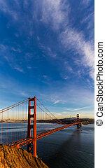 sf, brama złotego most, na, zachód słońca