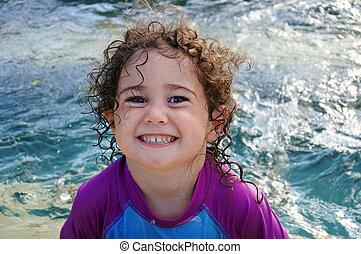 sfacciato, ragazza, sorriso, in, piscina