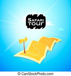 Sfari concept logo, long route in travel map with guide marker