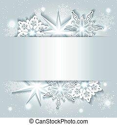 sfavillante, natale, fondo, con, fiocco di neve