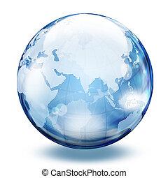 sfera, 2, vetro, mondo