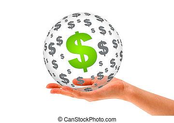 sfera, 3d, dollaro, tenendo mano