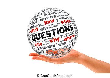 sfera, 3d, domande, tenendo mano