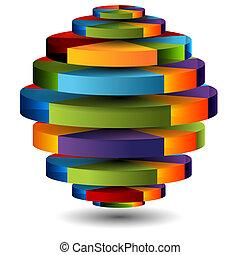 sfera, 3d, grafico, torta