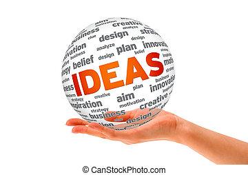 sfera, 3d, idee, tenendo mano