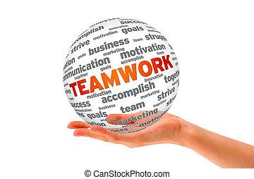 sfera, 3d, lavoro squadra, tenendo mano