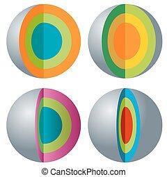 sfera, a più livelli, set, 3d, icona