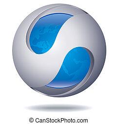 sfera, astratto, icona
