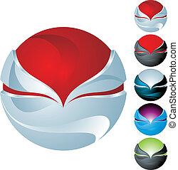 sfera, astratto, set, icona