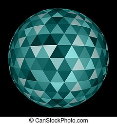 sfera, astratto, triangolo, 3d