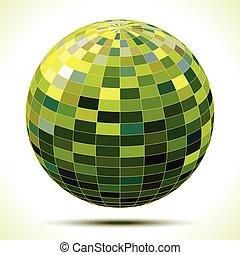 sfera, astratto, verde, 3d
