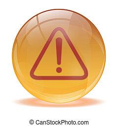 sfera, avvertimento, 3d, icona, vetro