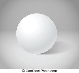 sfera bianca, su, grigio, scena
