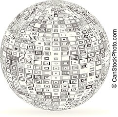 sfera, con, squadre, e, rettangoli