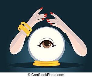 sfera cristallo, cassiere fortuna, mani