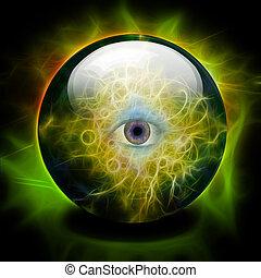sfera cristallo, con, tutto, vedere, occhio